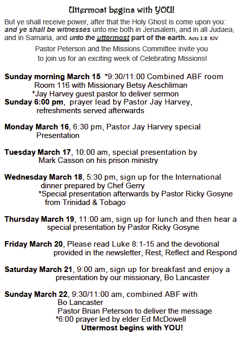 Missions Gala Schedule